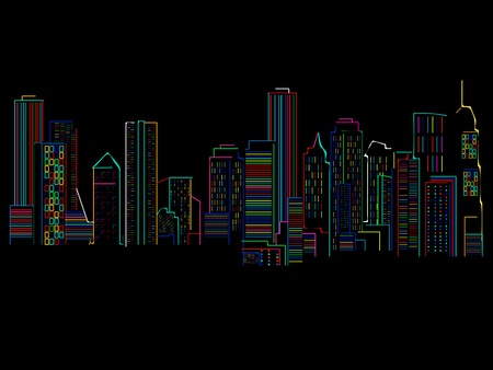 disordered: Cityscape background with colored skyscrapers over black background . abstract art illustration