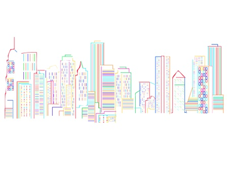 disordered: Cityscape background with colored skyscrapers abstract art illustration