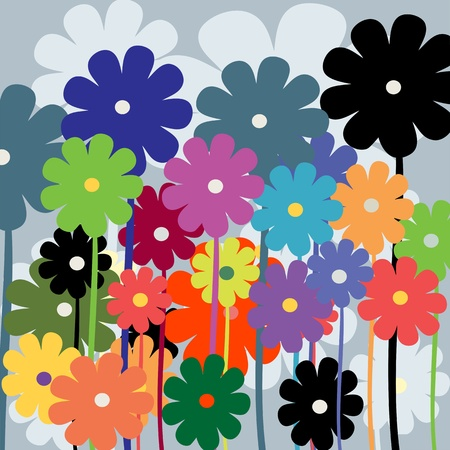 Retro art style floral background Vector