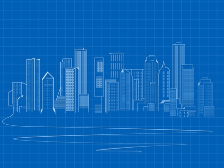 Stylized skyscrapers sketch, blue print design Stock Vector - 11787737