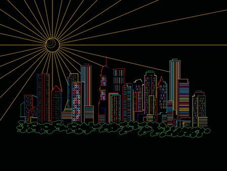 disordered: Stylized skyscrapers silhouettes over black background, abstract art illustration