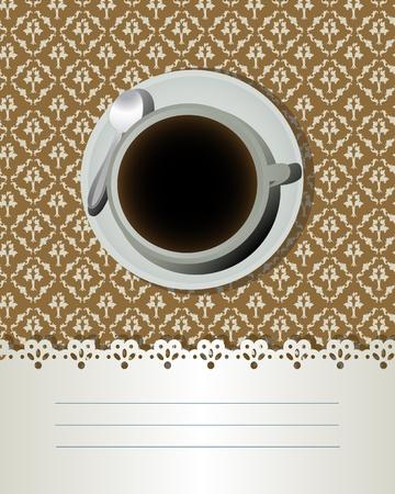 コーヒー カップとテキスト ラベル、バー、ビストロの装飾的なカード。  イラスト・ベクター素材