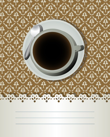 Coffee cup and text label, decorative card for bar, bistro. Illustration