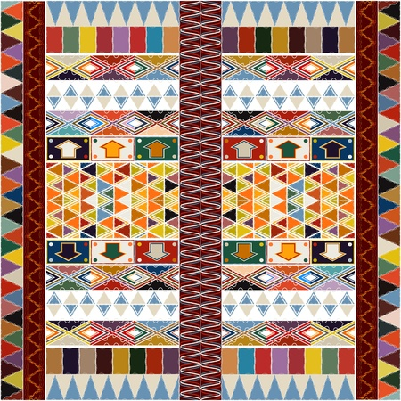 Ethnic carpet design with geometric motif, abstract background