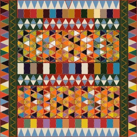 Ethnic pattern with multicolored elements, abstract art. Vector