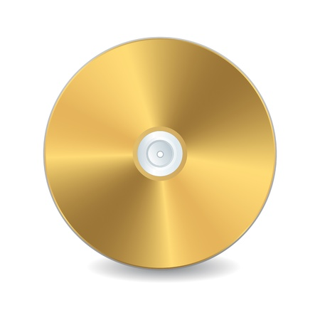 A golden compact disc,  isolated object over white background Vector