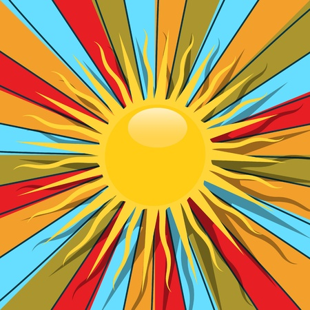 radiate: Retro style graphic with sun and rays in colors, abstract art. Illustration