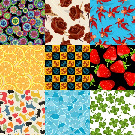 behaviours: Seamless pattern set, isolated and grouped backgrounds.