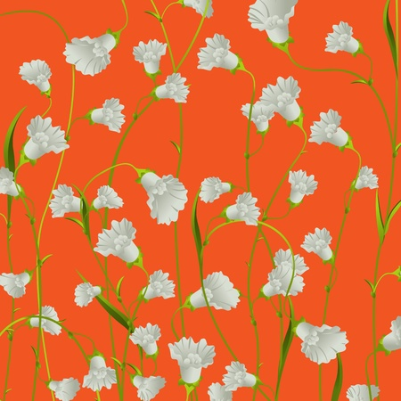 White flowers background over orange, abstract art illustration Vector