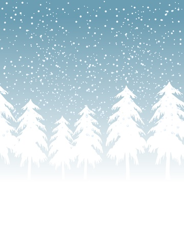 Winter celebration card with evergreen silhouettes in the snow. Vector