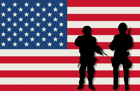 man gun: Armed soldiers silhouettes over american flag background