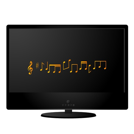 Black lcd monitor with musical notes on the screen Vector