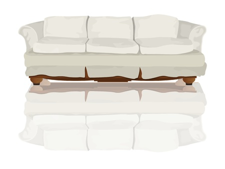 Couch or sofa and reflection drawing over white background Vector