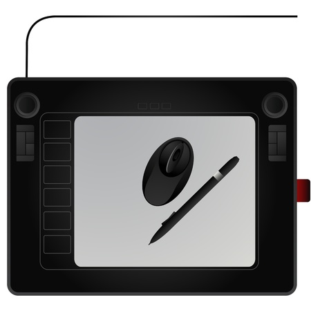 digitizer: Modern graphic tablet with mouse and pen Illustration