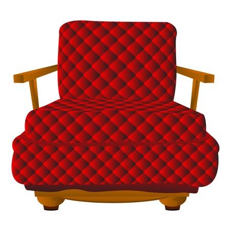 leather chair: Red braccio sedia in pelle su sfondo bianco Vettoriali
