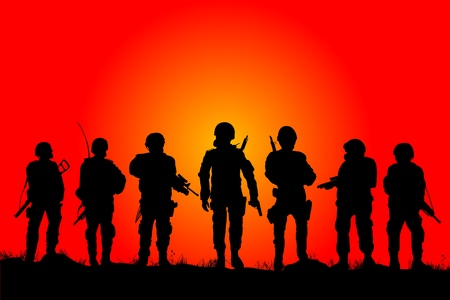 Soldiers silhouettes on a filed in the sunset Vector