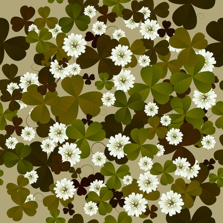 A seamless floral pattern with clovers, background tile for Saint Patrick Vector