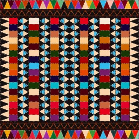 アメリカ ・ インディアン民族パターン抽象芸術、色とりどりの要素。