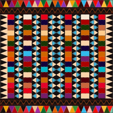 wool rugs: American indian  ethnic pattern with multicolored elements, abstract art. Illustration