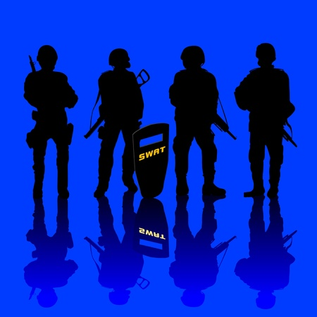 armed force: Anti terror police force armed and shielded. abstract art.