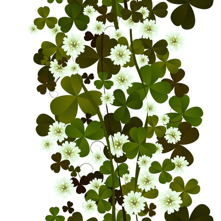 Clover leaves and flowers seamless tile on white. Vector