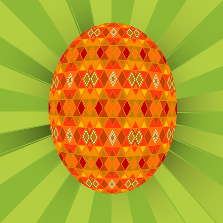 Colored egg over a green  background Vector
