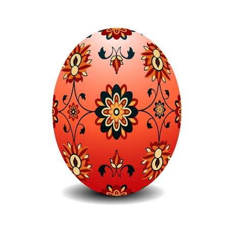 Easter egg painted with floral motif Vector