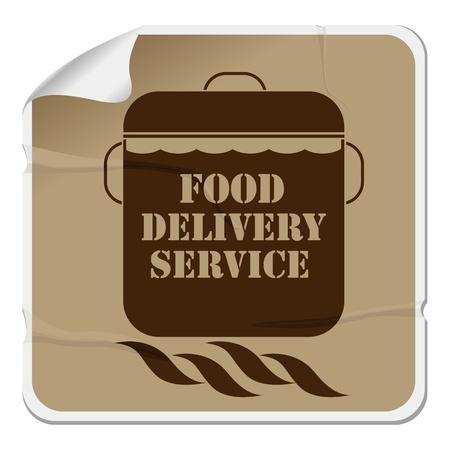 курьер: Доставка еды стикер, изолированный объект на белом фоне
