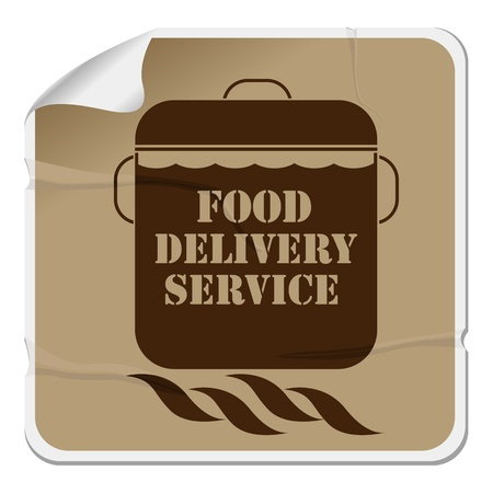 Food delivery sticker, isolated object over white background Illustration