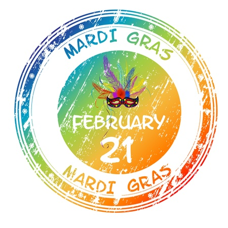 Mardi Gras grunge stamp for 2012 on white background Vector