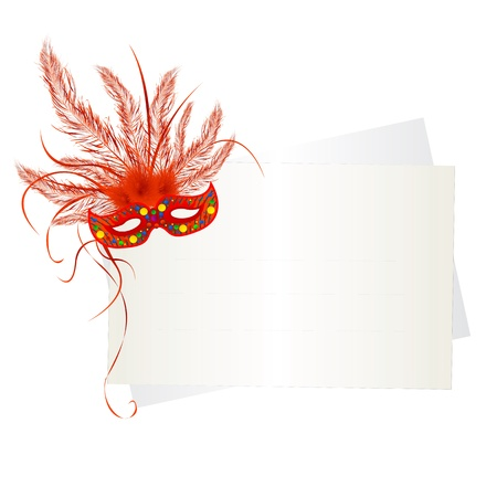 Mardi Gras mask and card on white background