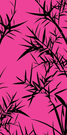 Black bamboo foliage. Chinese traditional background.  Vector