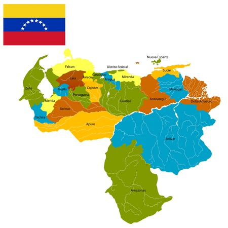 Detailed map of Venezuela divided in districts and flag, isolated and grouped objects over white background Vector