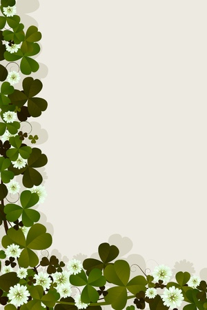 Editable text card with clover leaves and flowers for the celebration of St. Patrick Vector