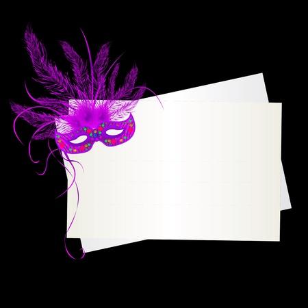 紫マルディグラ マスクおよび黒い背景上のカード