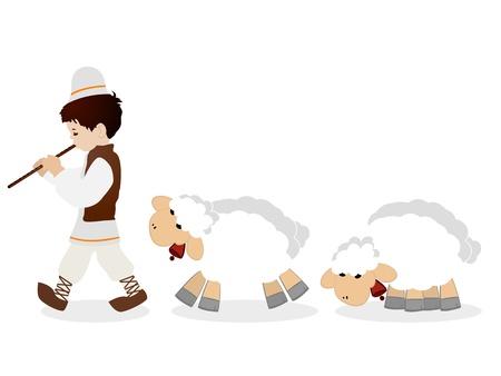 flet: Mały pasterz w tradycyjne stroje kursujące flecie i jego stada owiec, wyizolowane obiekty na białym tle.