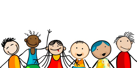 Smiling faces kids banner, card with room for text