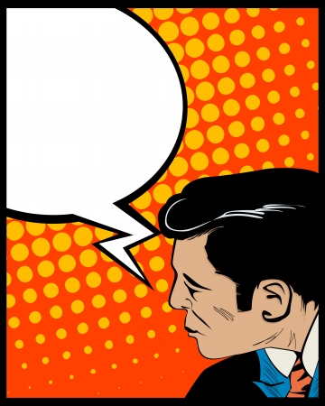 Pop Art style graphic with man and speech bubble