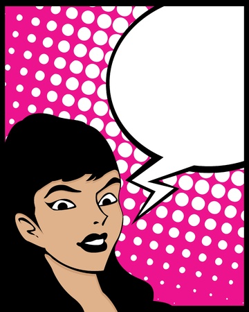 Pop Art style graphic with woman and speech bubble Illustration