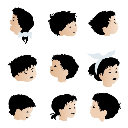 Children faces, expressions set. Isolated objects on white background. Vector