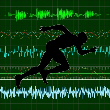 Working out, running exercise with cardiac curves background