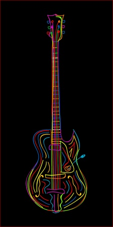 Stylized electric guitar on black background. Vector