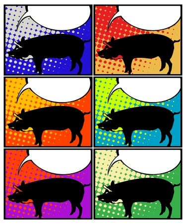 This pig has something to say! Pop Art graphic representation of a pig with speech bubble.  Stock Vector - 12178462