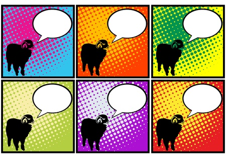 This sheep has something to say, pop art representation of a sheep with speech bubble Stock Vector - 12178461