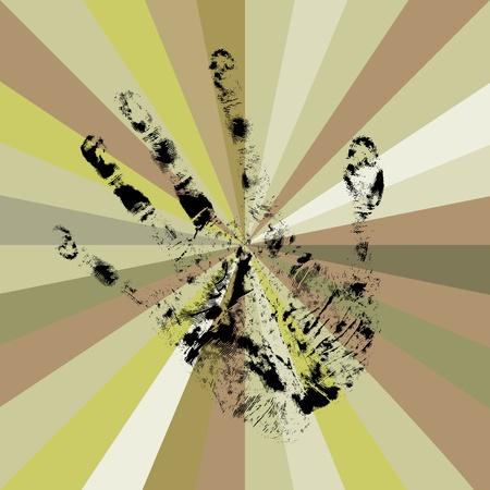 ray trace: Handprint graphic illustration, abstract art