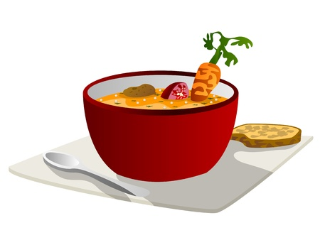 Hot vegetable soup with spoon and bread slice on a plate Vector