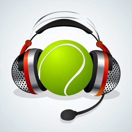 tenis: Headphones with microphone and tennis ball.