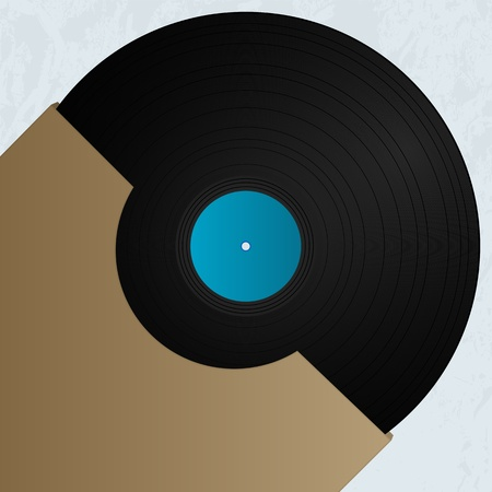 docket: Vinyl and cover over a grunge background, abstract art