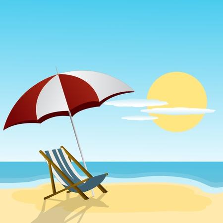 caribbean party: Chaise lounge y un paraguas en el lado de la playa Vectores