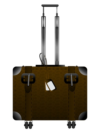 luggage tag: Big leather luggage with handle and wheels over white Illustration